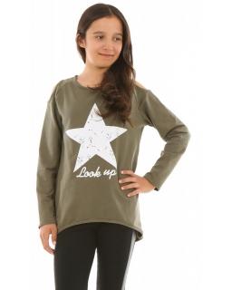 Asymetryczna bluza dla dziewczynki 116-158 KRP250 khaki