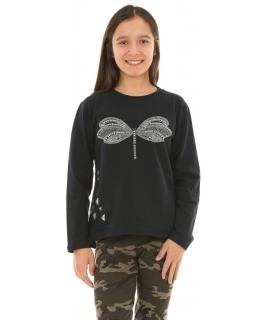 Dziewczęca bluza w ważki 128-164 KRP252 granatowa