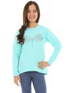 Bawełniana bluza w ważki 128-164 KRP252 miętowa