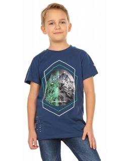 Chłopięca koszulka z krótkim rękawem 116-158 KRP254 granatowa
