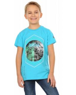 T-shirt z nadrukiem dla chłopca 116-158 KRP254 turkusowy