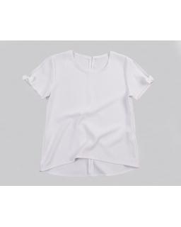 Asymetryczna bluzka z krótkim rękawkiem 122-158 Basia biała