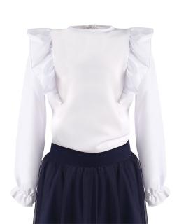 Biała bluzeczka dla dziewczynki z falbanką 116-158 Majeczka 2 biel