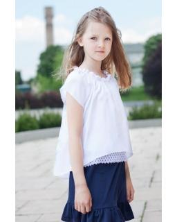 Bluzka hiszpanka dla dziewczynki 128-164 Pamela biała