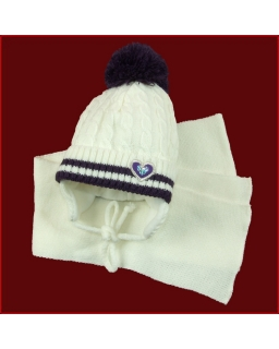 Zimowy komplet czapka z nausznikami i szalik 42 - 46 Alina