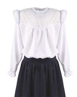 Biała luźna bluzeczka z falbanką 116-158 Lisa biel