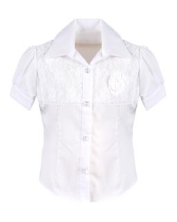 Koszulowa bluzka z kwiatkiem 122-152 Mela biała