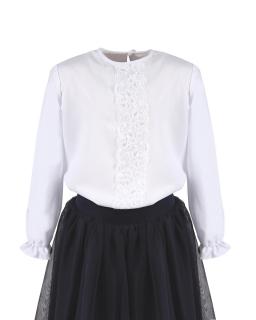 Galowa bluzka z koronka i długim rękawem 122-158 Elena biała