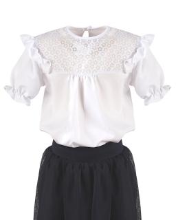 Luźna galowa bluzeczka z falbanką 122-158 Lisa 2 biała