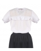 Bluzka dla dziewczynki z falbanką 122-158 Majeczka biała