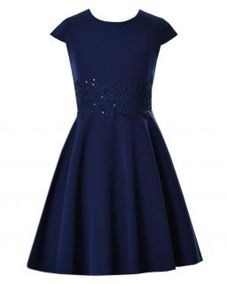 Sukienka z koronką w pasie 134-158 Barbi granatowa