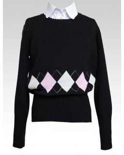 Szkolny sweterek z długimi rękawkami 128-158 406/s/17 czarny