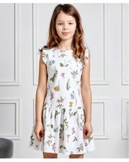 Sukienka w polne kwiaty 128-158 Flora ecru