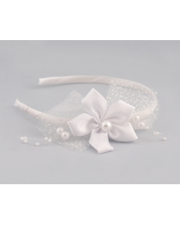 Opaska z perełkami LP20 biała