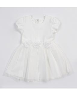 Lekka sukienka z tiulowym dołem 104-140 Alicja biała