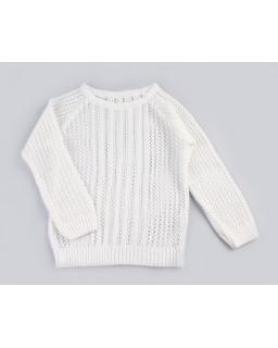 Ażurowy sweterek z długim rękawem 110-146 DZ-369 Biały