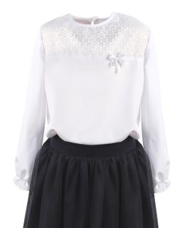 Galowa bluzka z kokardką dla dziewczynki 122-158 Hania 3 biała