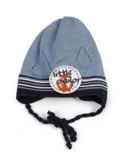 Przejściowa ażurowa czapka chłopięca 40 niebieska