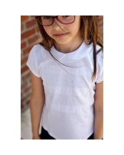 Elegancka bluzka z krótkim rękawem 104-146 Megi biała