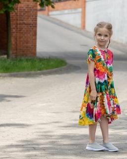 Asymetryczna sukienka w kwiatki 128-158 P-150/viw multikolor
