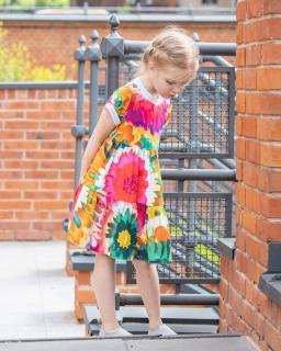 Sukienka w kwiatki ze ściągaczem 128-158 P-151/viw multikolor