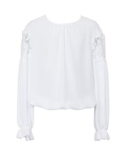 Biała bluzka z koronką na rękawku 140-170 102/S/19 biała