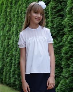 Luźna bluzka dla dziewczynki 122-158 Zosia biała