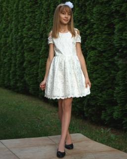 Dziewczęca sukienka z koronki 134-158 Jowita ecru