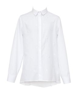 Koszula w haftowane kokardki 122-158 123A/S/19 biała