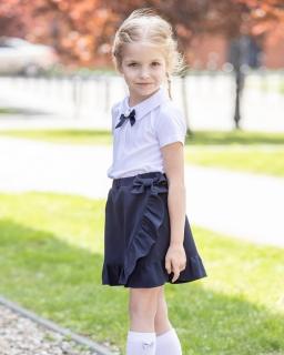 Bluzka z broszką dla dziewczynki 128-158 B-63/viw biała