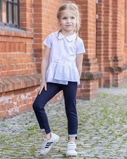 Bluzka z modną falbanką dla dziewczynki 128-158 B-64/viw biała