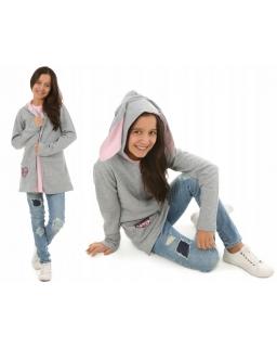 Ciepła bluza dziewczęca z uszami królika 122-158 KRP202 szara