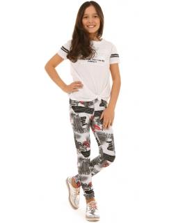 Dziewczęce bawełniane legginsy 116-158 KRP257 multikolor