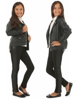 Dziewczęce legginsy z lampasem 116-158 KRP258 czarne