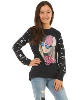 Dziewczęca bluza z nadrukiem 128-164 KRP259 granatowa