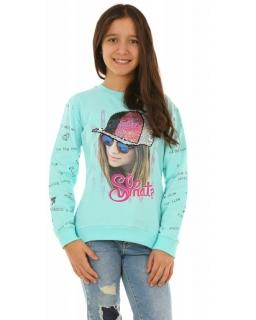 Dziewczęca bluza z długim rękawem 128-164 KRP259 miętowa