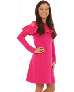7ae22cef Dziewczęca sukienka z perełkami 128-158 KRP215 fuksja