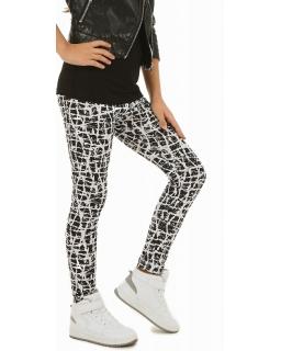 Długie ciepłe legginsy dziewczęce 116-158 KRP262 czarny plus biały