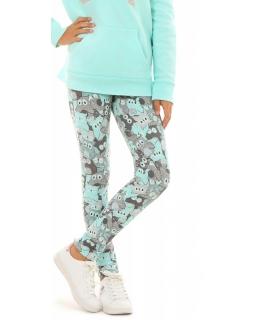 Ciepłe legginsy dziewczęce w sowy 116-158 KRP261 miętowe
