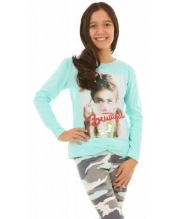 Bluza z napisem na przodzie 128-164 KRP264 miętowa