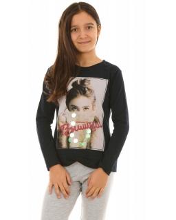 Bluza z modnym zdjęciem 128-164 KRP264 czarna