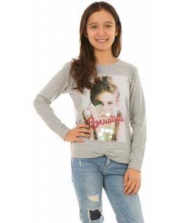 Bluza z modnym zdjęciem 128-164 KRP264 szara