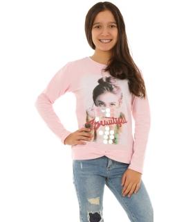 Dziewczęca bluzka z rękawem 128-164 KRP264 różowa