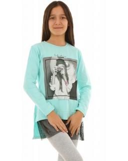 Bluza z siateczkową wstawką 128-164 KRP265 miętowa