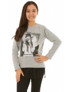 Dziewczęca bluza z tiulem 128-164 KRP265 szara
