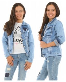 Jeansowa katana dla dziewczynki 128-158 KRP266 Niebieska
