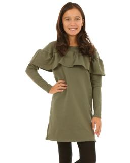 Sukienka z falbanką i długim rękawem 116-158 KRP176 khaki