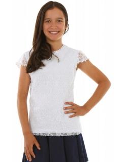Koronkowa bluzka 134-164 KRP270 biała