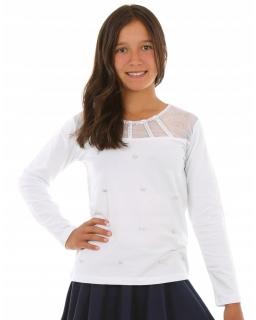 Bluzka z perełkami 128-164 KRP271 biała