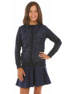 Elegancki sweterek dla dziewczynki 116-158 KRP272 granatowy